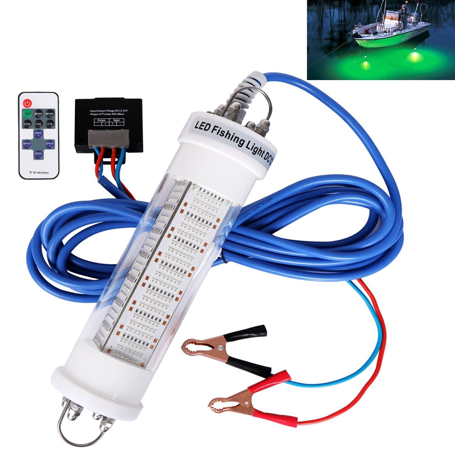 Goture 12V IP68 High-Power LED Fully Submersible Night Fishing Light Deep Drop Underwater Lure Bait Fish Finder Lamp with 5.52 Cable for Krill, Phytoplankton, Squid - White