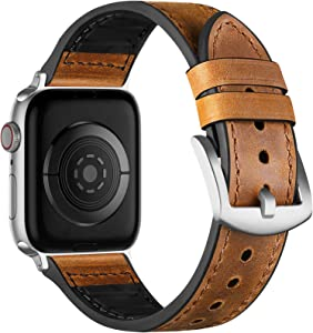 Muranne Leather Band Compatible with Apple Watch SE 40mm 38mm, Elegant Genuine Leather Replacement Strap with Classic Bands Buckle Compatible with iWatch 6 5 4 3 2 1, Dark Brown/Silver Adapter