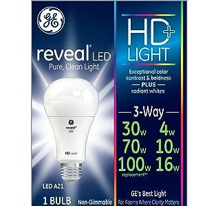 GE Lighting Reveal HD LED 3-Way 16-watt (100-watt Replacement), 1140-Lumen 3-Way Light Bulb with Medium Base, 1-Pack
