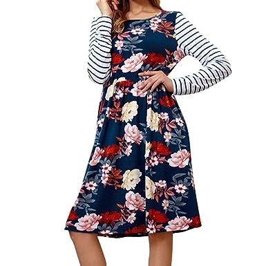e9546def908a Longra Damen Herbst Winterkleid Langarm Blumenkleider Basic Pullover  Shirtkleid Freizeitkleid T-Shirt-Kleider Knielang
