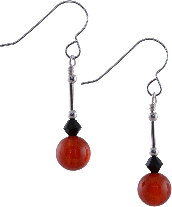 Pendientes de gema de cornalina roja, cristal de Swarovski negro azabache y plata de ley con caja de regalo