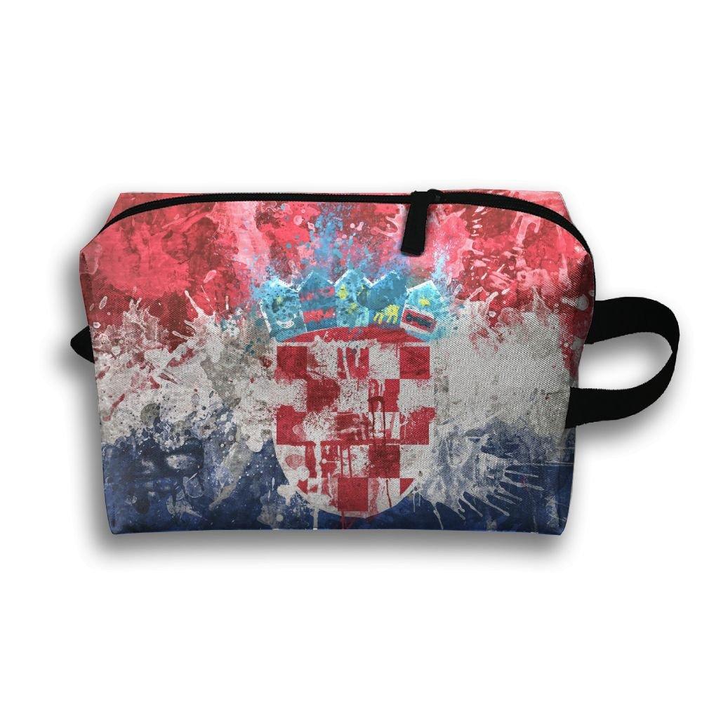 f42f693dc1d2 Amazon.com: RONG FA Croatian Flag Art Paint Portable Travel Makeup ...