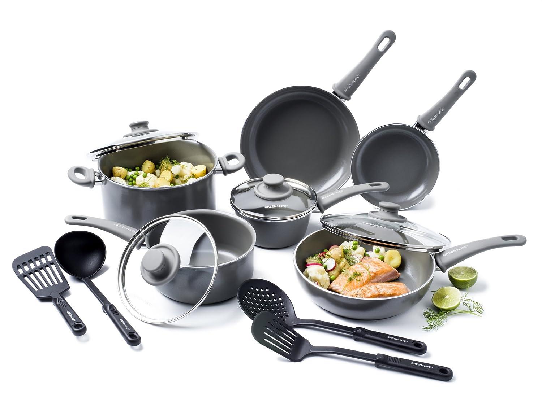 GreenLife CC001410-001 Healthy ceramic nonstick cookware set, 14-Piece, Quartz Grey