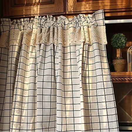 HSMM Cortinas,Medio De Visillos,Cortinas Cortas,Cuadros Negro Algodón Decoración De La Ventana Cocina Media Cortina-d 140x180cm(55x71inch): Amazon.es: Hogar