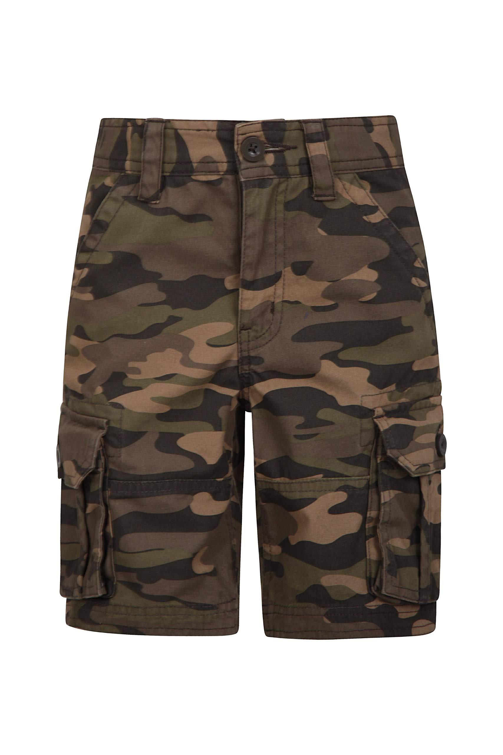 Mountain Warehouse Kids Camo Cargo Shorts - 100% Cotton Summer Pants Khaki 11-12 Years by Mountain Warehouse