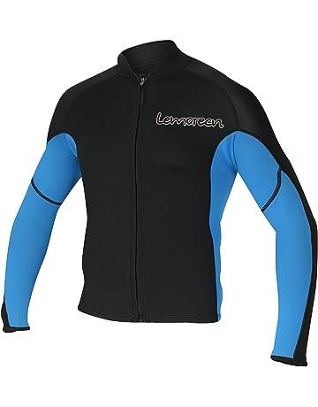 764e43a5238335 Lemorecn Men's 2mm Wetsuits Jacket Long Sleeve Neoprene Wetsuits Top