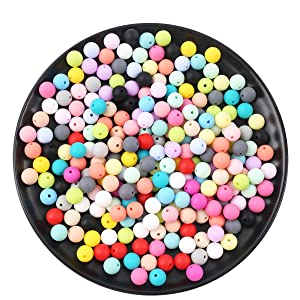Promise Babe Silicone Beads 150pc 12mm Chewable Jewelry BPA Free DIY Necklace and Bracelet Assortment