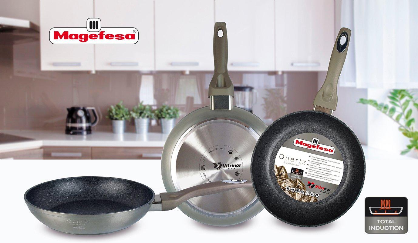 Magefesa Quartz Set Juego 3 Sartenes 20-24-28 cm Aluminio Forjado, inducción, Antiadherente ecológico Libre PFOA Cuarzo, Mango Soft Touch, ...
