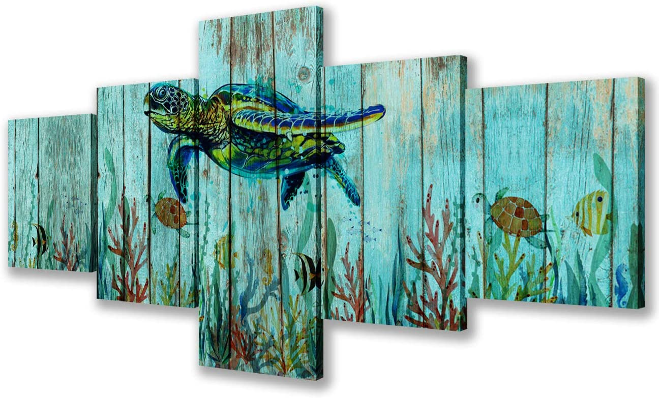 Living Room Wall Decor Sea Turtle Pictures Aquatic Creatures Paintings 5 Pcs/Multi Panel Canvas Teal Wall Art Modern Artwork Home Decoration Wooden Framed Ready to Hang Posters and Prints(50''Wx24''H)