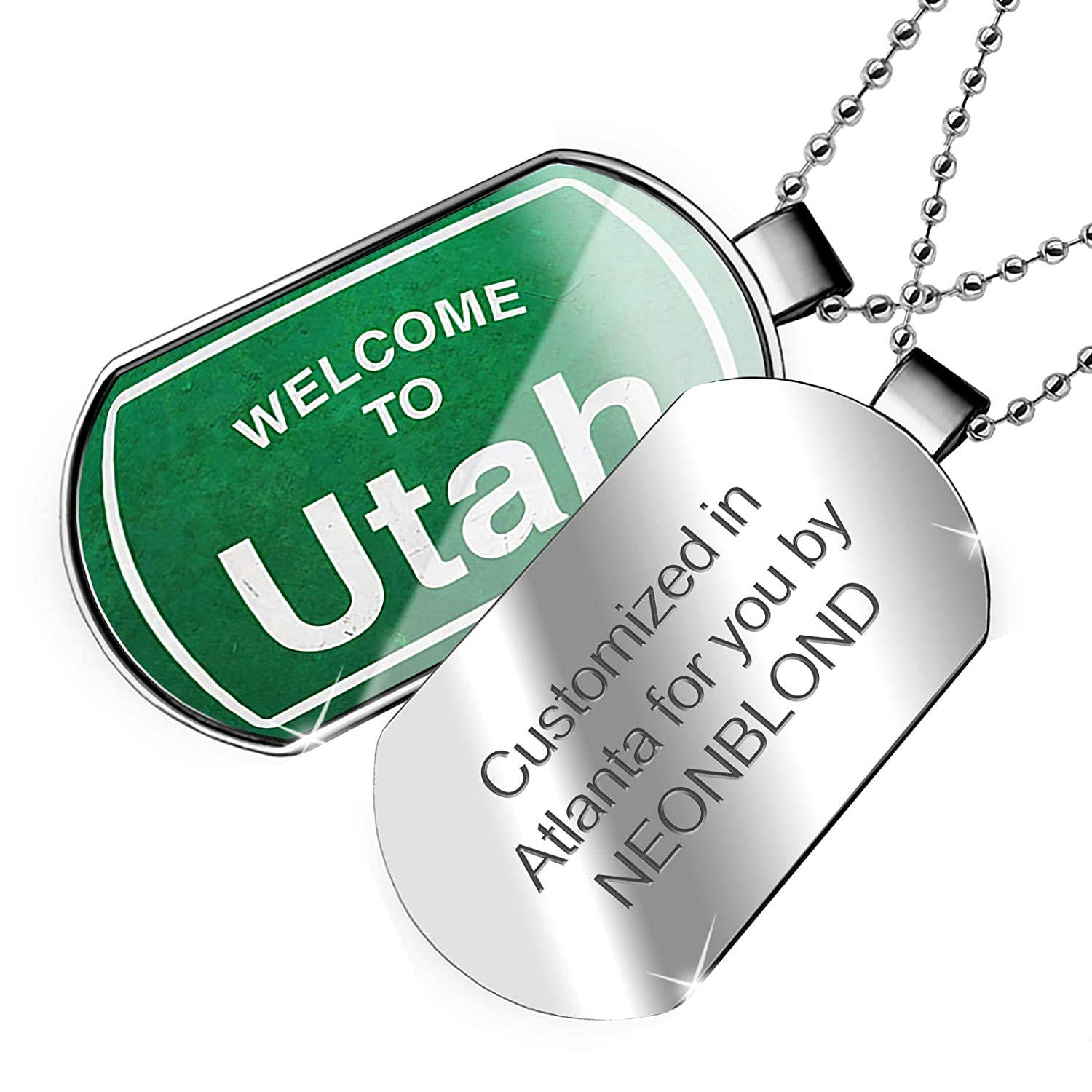 NEONBLOND Personalized Name Engraved Green Road Sign Welcome to Utah Dogtag Necklace