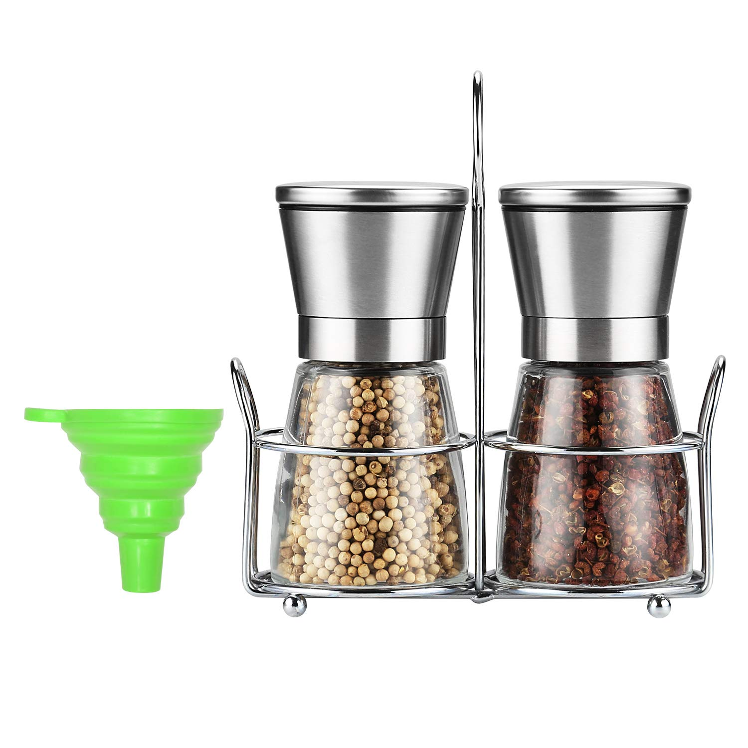 Salt and Pepper Grinder, [Set of 2] Premium Salt Grinders and Pepper Mill Shaker Mills Set With Stainless Steel Stand