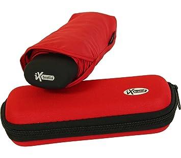 iX-brella - Paraguas con Estuche (tamaño Mini, Ligero), Color Rojo