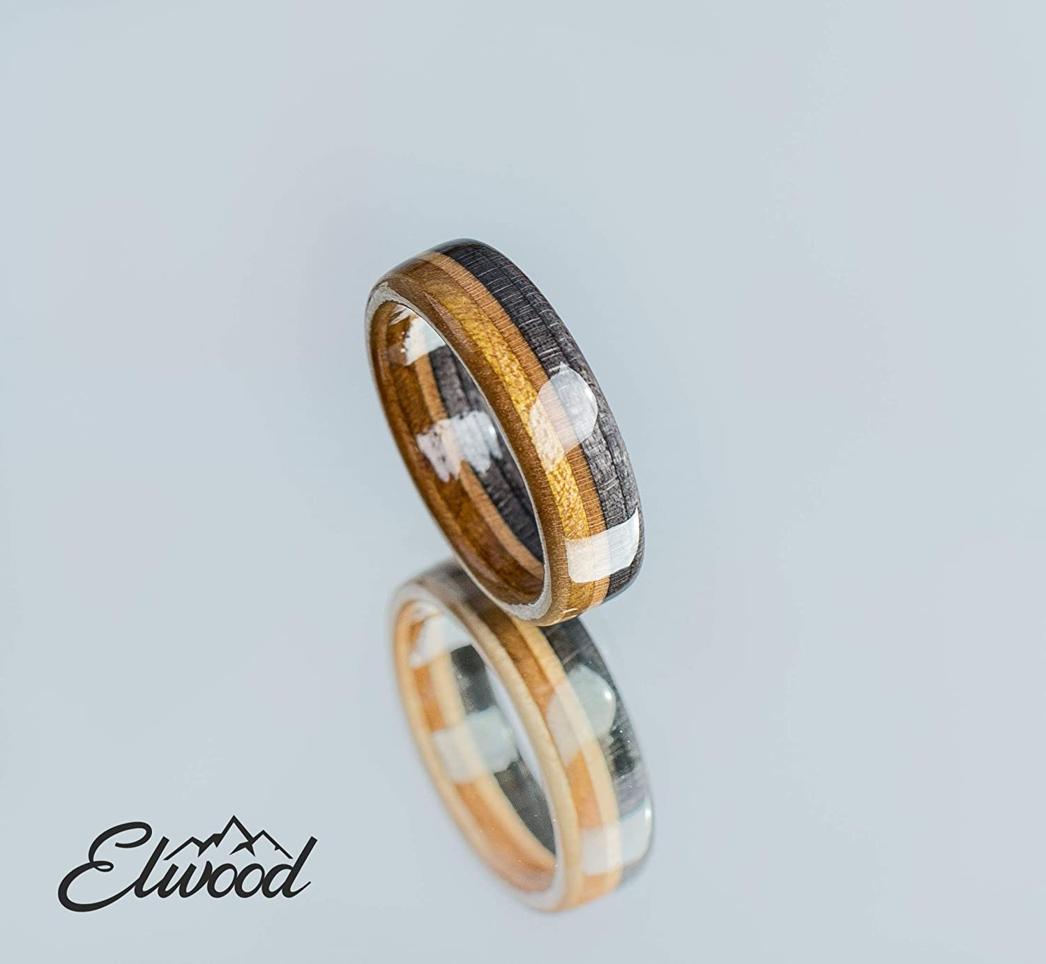 Black And Gold Wood Wedding Ring Maple Unique Band Wooden