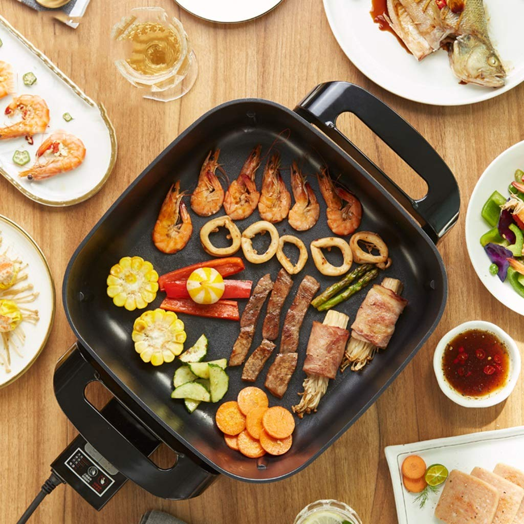 YECHUI Electric Hot Pot Barbecue Pot Household Large Capacity Multi-function Electric Skillet Multi-function Electric Wok One Machine