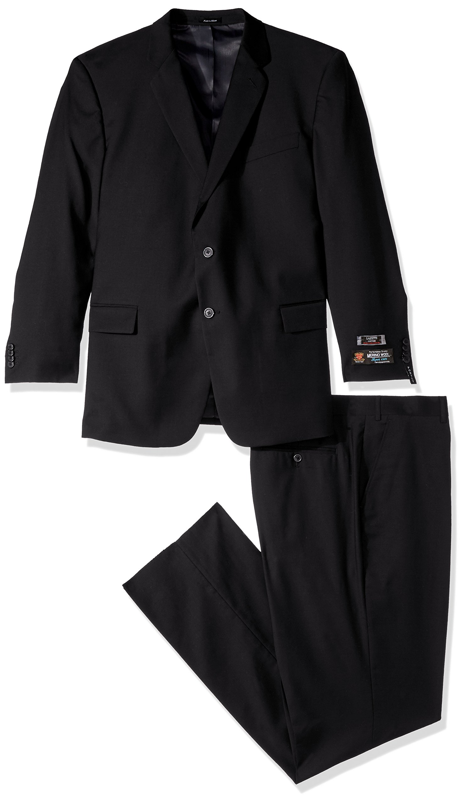 Lazetti Couture Men's Portly Wool Suit, Black, 48 Regular by Lazetti Couture