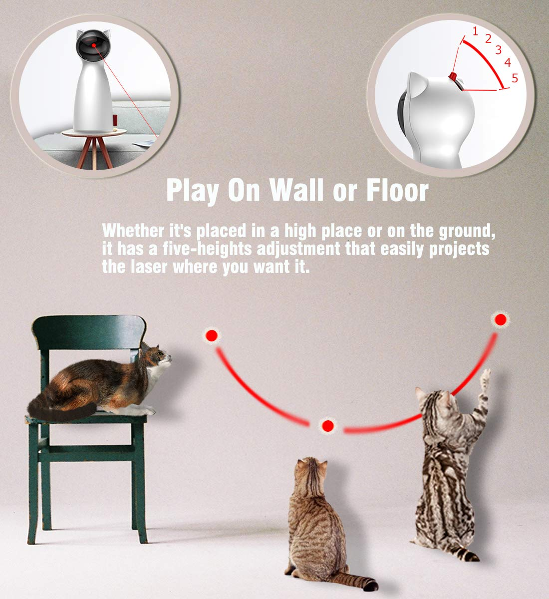 POWERbeast Laser Cat Toys Interactive - Pet Laser Pointer for Cats with Automatic Rotating,Auto Shutdown/Startup for Catch and Training,5 Adjustable Rotating Height/Range,Cat Exercise Toys