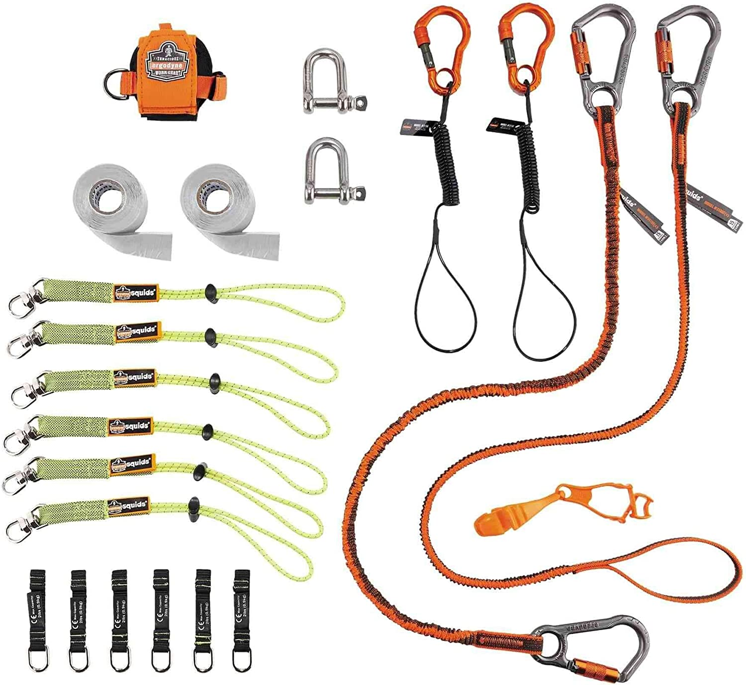 Tool Tethering Kit for Scaffholders, Includes Tool Lanyards and Attachments for Wrenches and Mallets, Ergodyne Squids 3187