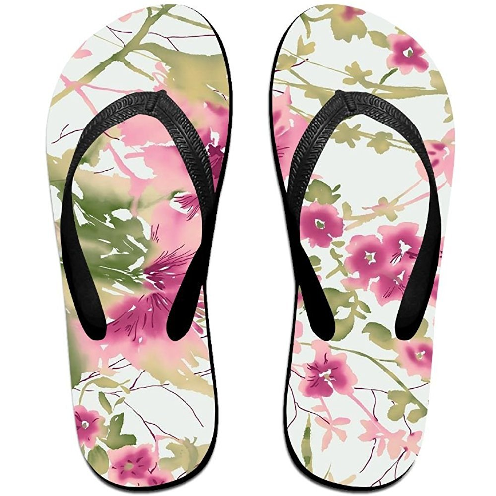 Unisex Summer Beach Slippers Smplie Flowers Flip-Flop Flat Home Thong Sandal Shoes
