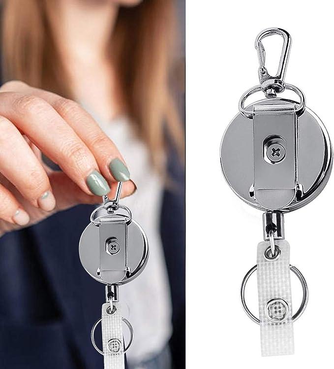 Negro NATUCE 2 piezas 60cm Mosquet/ón de Carrete Llaveros Retr/áctil de Tarjeta con Clip de Cinturon Retractable Keychains