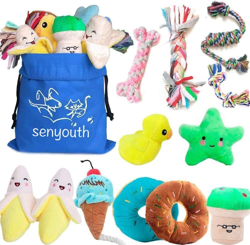 YYOJ Squeaky Dog Toys,Soft Dog Toys for Teeth Cleaning Funny Crocodile Plush Interactive Training Toys for Puppy Small Medium Dogs