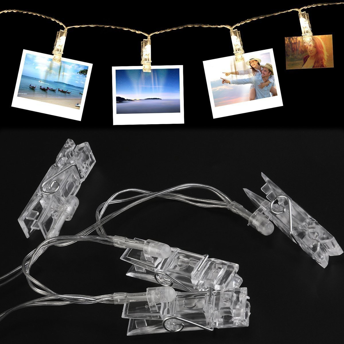 Naisidier LED Photo Clip String Lights With 50 Clips USB Powered Fairy Lights Home Decor Lights for Hanging Photos, Cards and Artwork(16.4 Ft, Warm White)