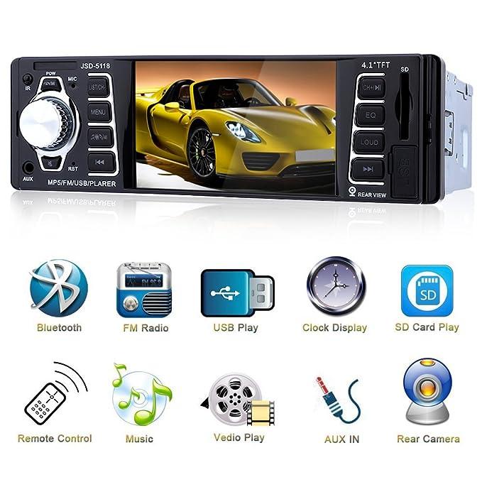 Bluetooth Radio de Coche 4.1 HD,Reproductor MP3 MP4 MP5 con Entrada de Cámara de Visión Trasera,Autoradio Auto Estéreo Vídeo FM Radio USB/TF/AUX Entrada ...