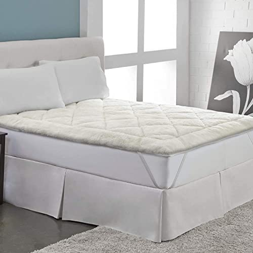 #3- perfect fit cool wool extra plush down alternative reversible mattress pad (full)