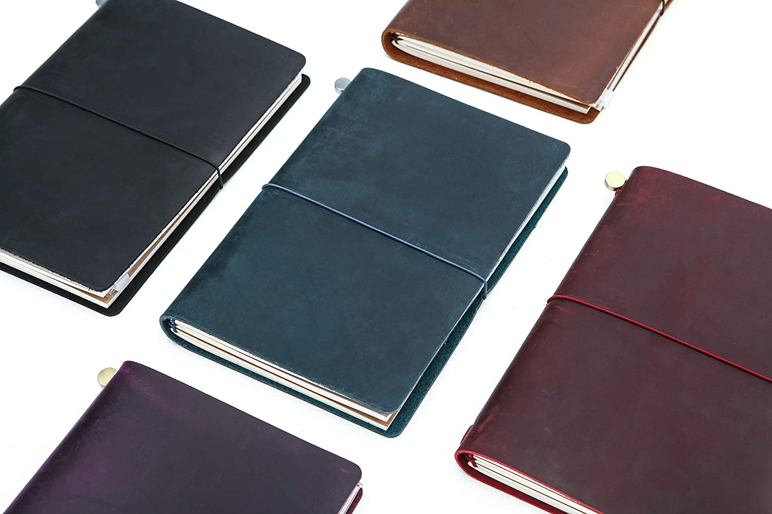Black Collasaro A5 Travelers Notebook Refillable Genuine Leather Journal for Men Women 8.5x6