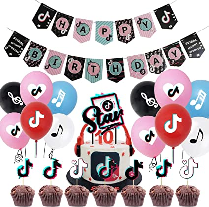 Including 1 Banner Birthday Party Supplies Set 27 Cupcake Topper 1 Cake Topper TIK TOK Party Decorations 24 Balloons