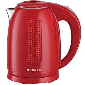 Ovente Electric Kettle, 1.7L, 1100W, Double-Wall Interior, BPA-Free, Auto Shut-Off, Red (KD64R)