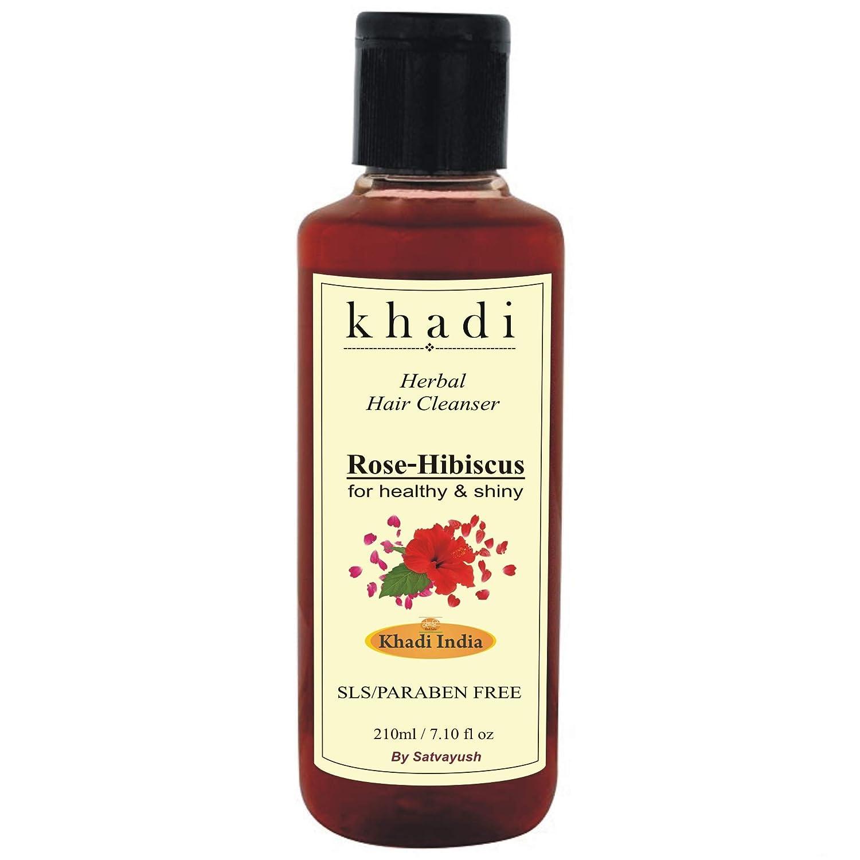 II. Satvayush Khadi Rose Hibiscus Ayurvedic Formulations Natural Herbal SLS-Paraben-free and Organic Cleanser/Shampoo for Healthy and Shiny Hair (210 ml):