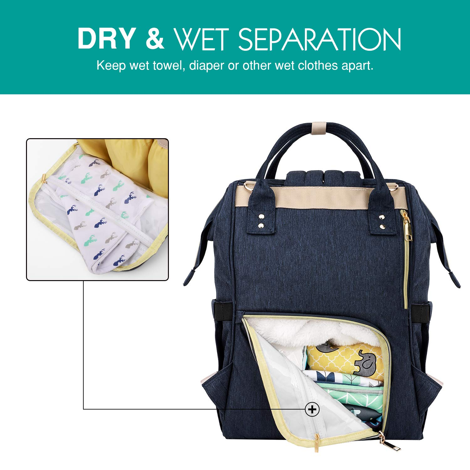 Zooawa Baby Diaper Bag Backpack Large Capacity Waterproof Multifunctional Mommy Nappy Tote Bag Multi Pockets Travel Organizer for Baby Care Blue