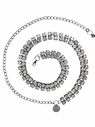 Amazon.com  Silver Double Row Crystal Rhinestone Chain Link Belt ... b659c79b3f1a