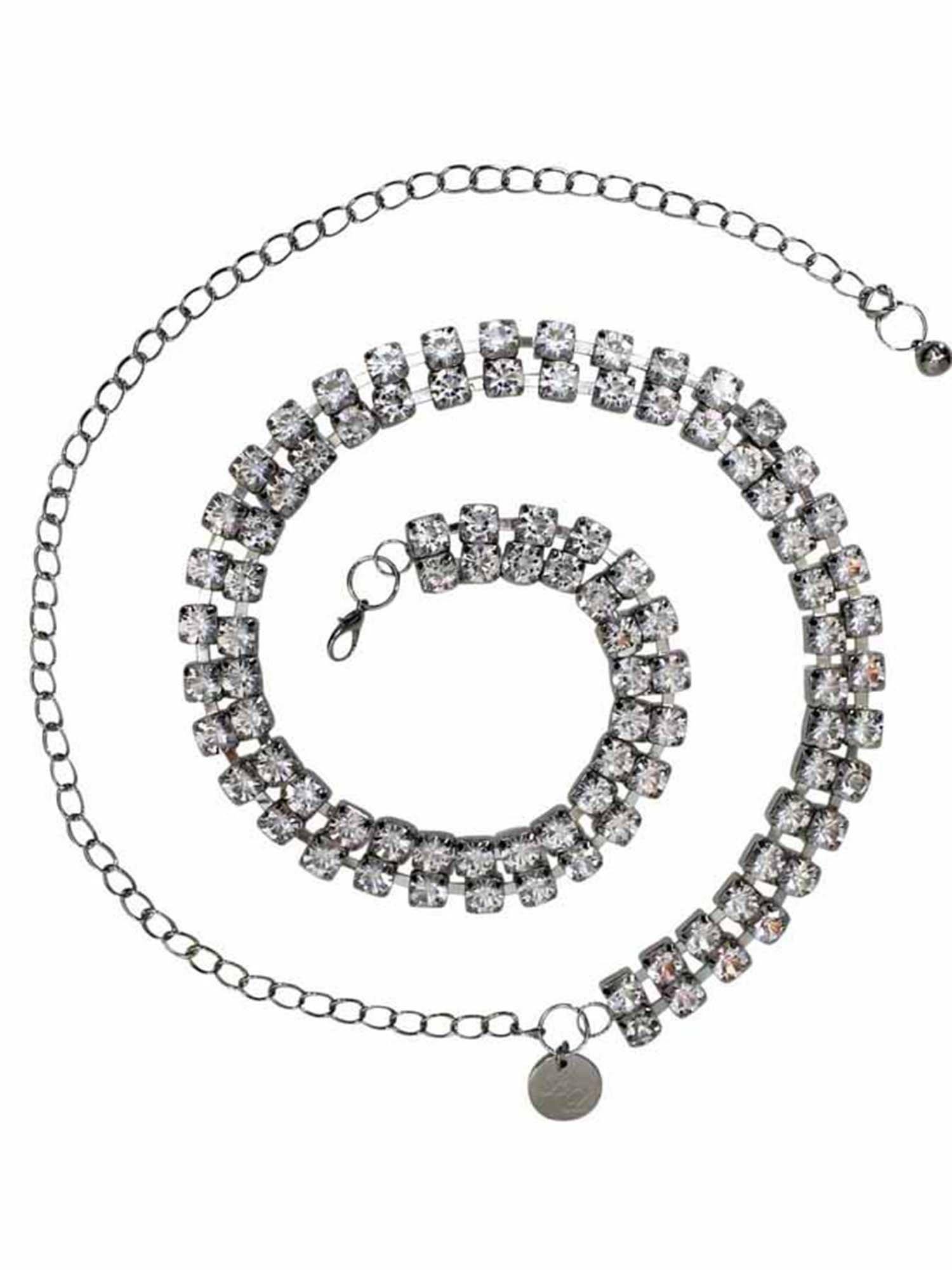 Silver Double Row Crystal Rhinestone Chain Link Belt by Luxury Divas
