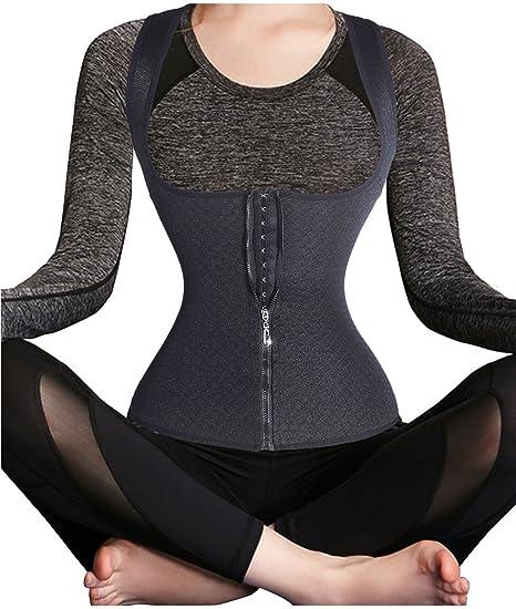 40f7c9e426282 Waist Cincher Zipper Corset Waist Trainer hot Sweat Shapers Sauna Suits  Waist Trimmer Slimming Shirt Shapewear
