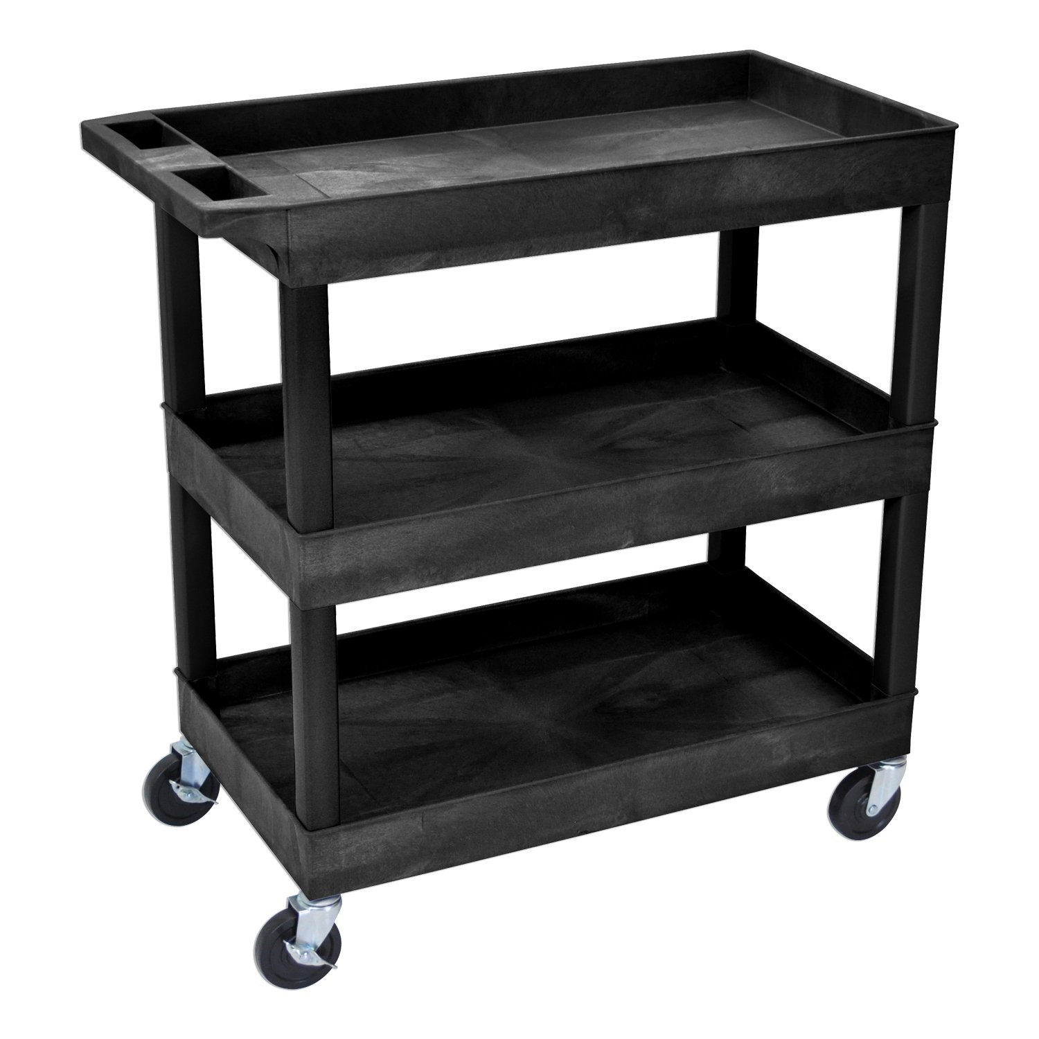Offex 32''W x 18''D Rolling 3 Shelf Tub Storage Utility Cart with 5'' Casters - Black by Offex