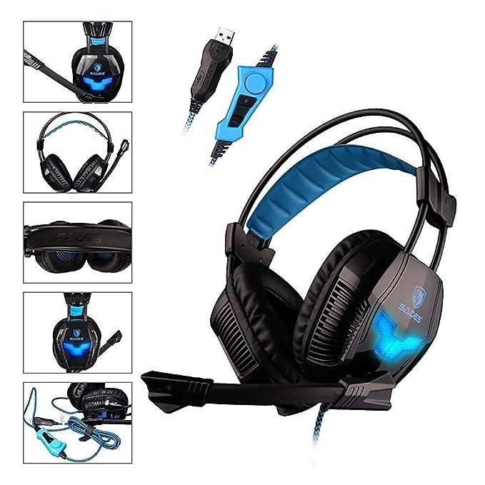 72 opinioni per SADES A30S- Cuffie Surround USB da PC Gaming Headset, Microfono Hifi, Vibrazione
