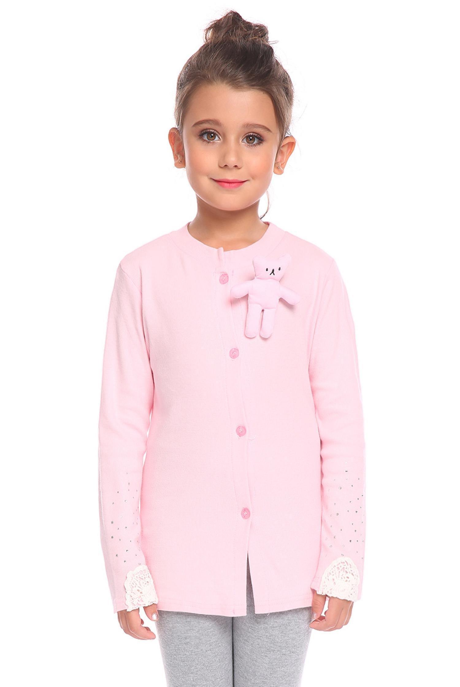 Arshiner Little Girls Crewneck Cardigan Long Sleeve Children Button Cotton Sweater Uniform Tops for Girls