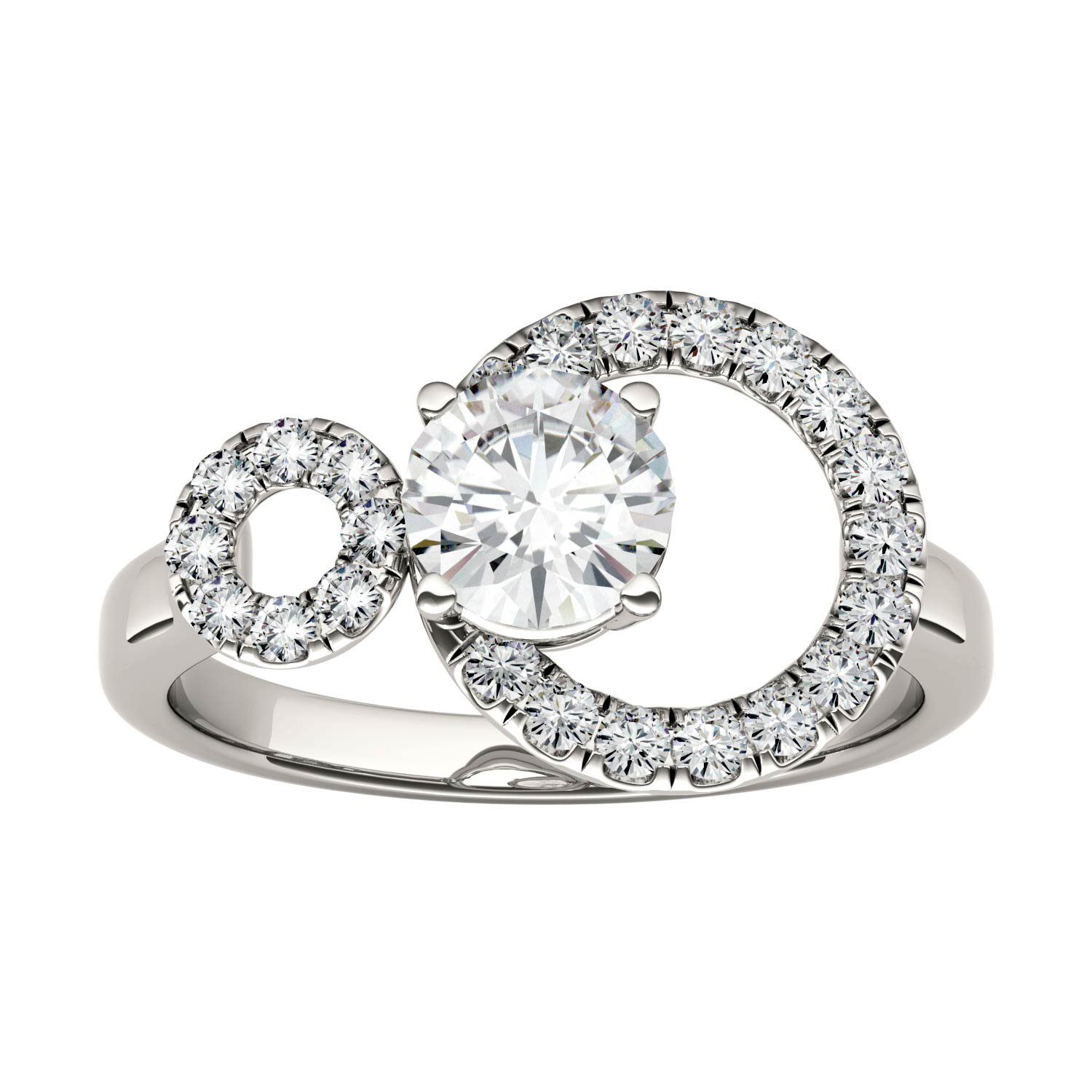 Forever Classic Double Circle 6.0mm Round Moissanite Ring-size 8, 1.04cttw DEW By Charles & Colvard