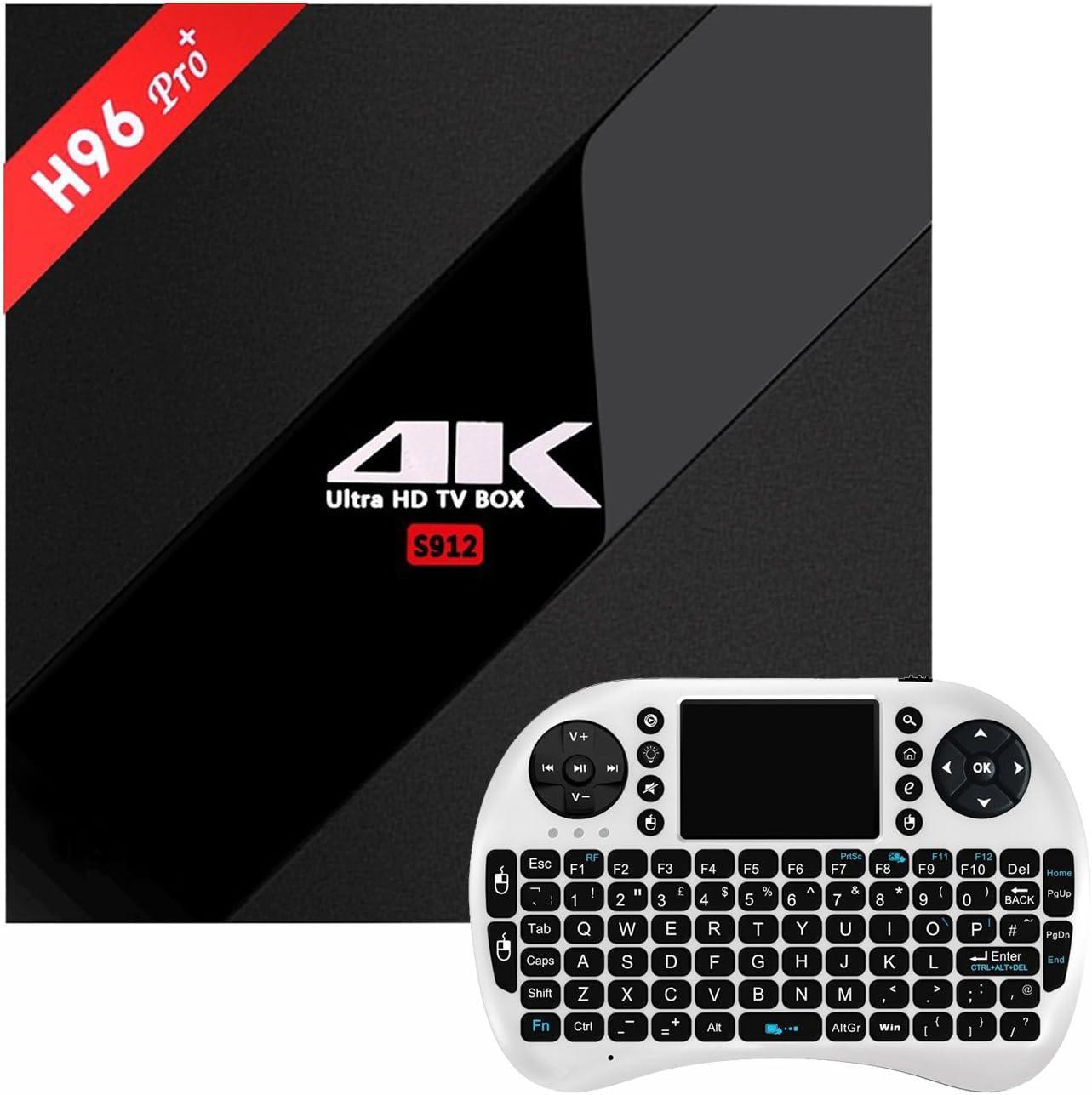 3GB + 32GB H96 Pro+],Ruiwin TV Caja Android 6.0 Reproductor Amlogic S912 64bit Octa-core 4K Smart TV BOX Bluetooth 4.1 Televisión Caja Dual Band WIFI 1000M LAN (H96 pro plus 3G +32G