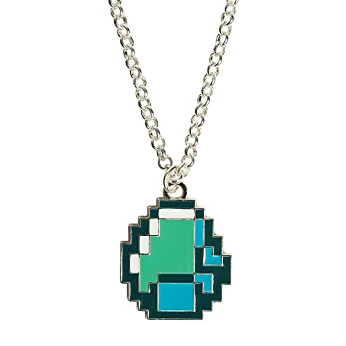 Amazon.com: Minecraft Diamante Collar con Colgante, Plateado ...