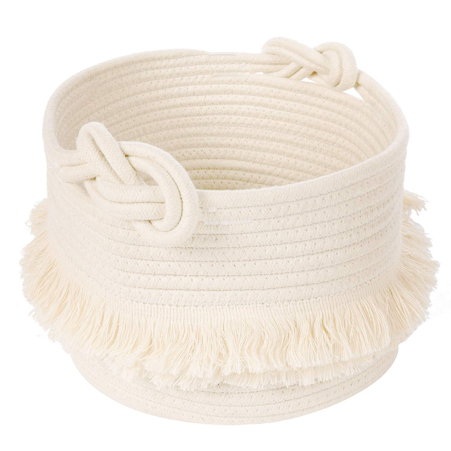 Small Woven Storage Baskets Cotton Rope Decorative Hamper for Diaper, Blankets, Magazine and Keys, Cute Tassel Nursery Decor - Home Storage Container – 9.5'' x 7''
