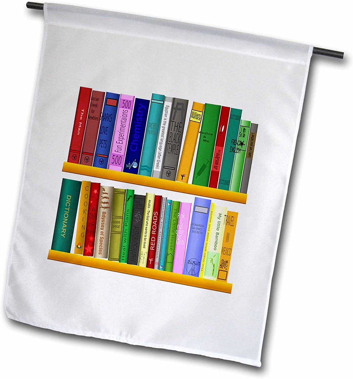 """3dRose Image of Library Books Cartoon in Bright Colors - Garden Flag, 12 by 18"""""""