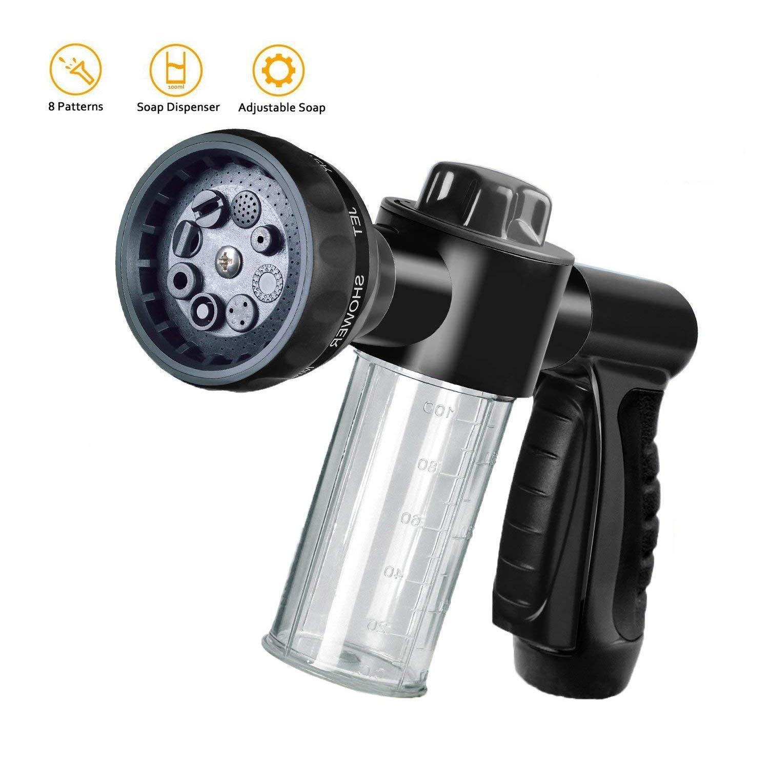 Garden Hose Nozzle Adjustable Hose Spray Nozzle High Pressure 8 Watering Pattern with 3.5Oz Soap Sprayer Power Garden Water Hose Foam Nozzle Sprayer for Car Washing Pet Shower (Black)