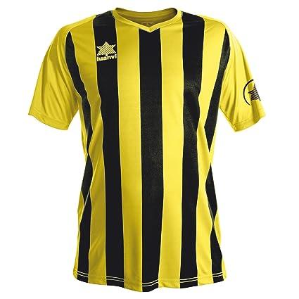 Luanvi New Listada Camiseta de equipación de Manga Corta, Hombre, Amarilla /Blanca,