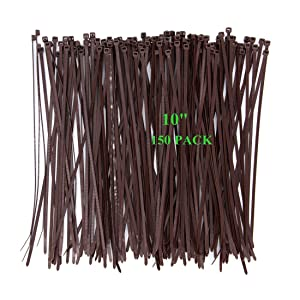 Wide 10 Inch 150 Pack Strong Wood Brown Color Standard Durable Cable Zip Ties Wood Color-Outdoor, Garden, Office and Kitchen Use