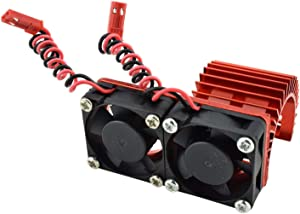 Apex RC Products 540/550 Aluminum Heat Sink W/Two 30mm Fans - 3 Colors to Choose from (Red)