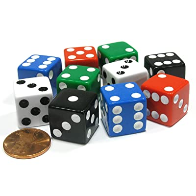 Koplow Games Set of 10 Six Sided Square 16mm D6 Dice - 2 Each of Red White Blue Green Black: Toys & Games