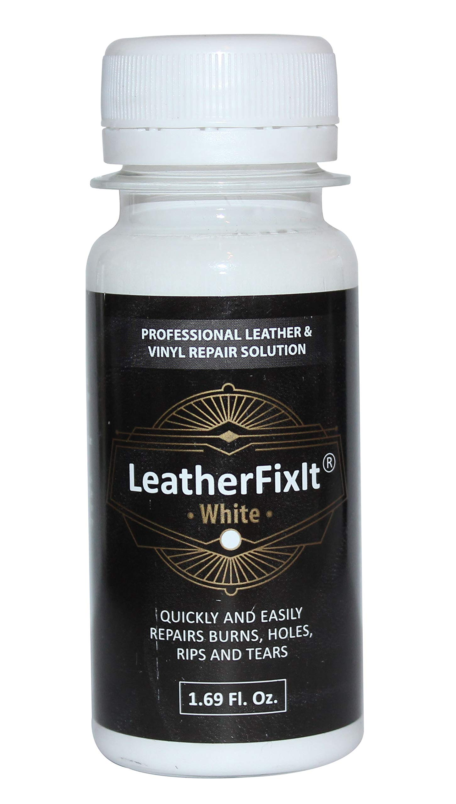 White Leather & Vinyl Repair Solution | No-Heat, Fast Drying | Furniture, Car Seats, Couch, Chair, Jacket, Boots, Belt and Purse Repair Adhesive by LeatherFixIt