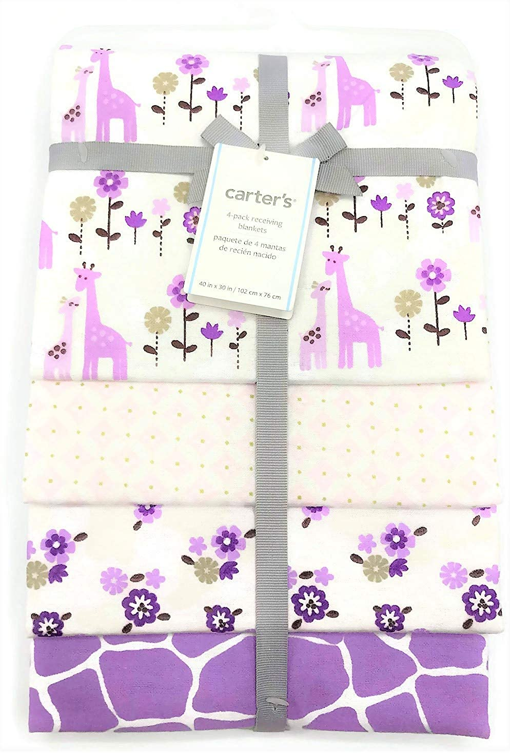 Amazon.com: Carters 4-Pack Receiving Blankets Lavender Giraffes and ...